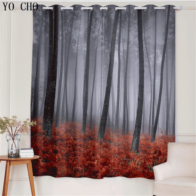 YO CHO Mystic Forest Digital Print Curtains For Bedroom Living Dining Room Kids Decor Home