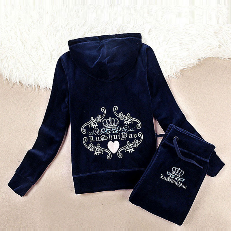 Spring Fall 2018 Women s Brand Velvet fabric Tracksuits Velour suit women Track suit Hoodies and