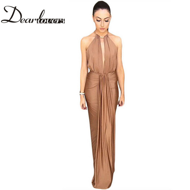 Dear Lover Elegant Silky Jewel Halter Neck Camel Black Long Maxi Dress Women Formal Party Dresses