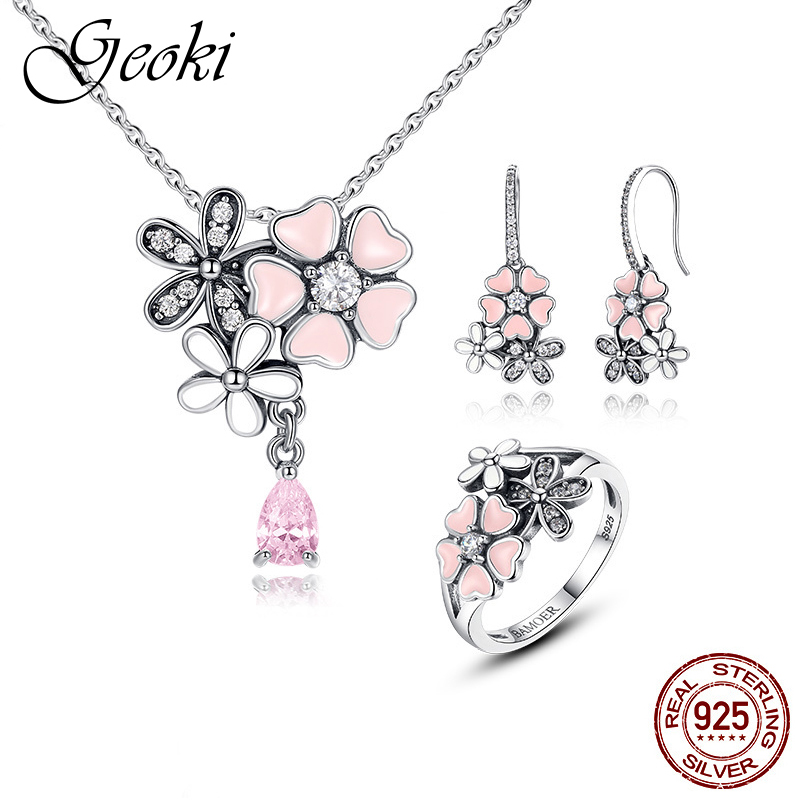 Geoki 925 Sterling Silver Pink Cherry Daisy Clover Ring&Drop Earrings Spring Blossom Pendant Necklace Women Party Jewelry SetsGeoki 925 Sterling Silver Pink Cherry Daisy Clover Ring&Drop Earrings Spring Blossom Pendant Necklace Women Party Jewelry Sets