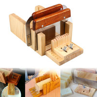 Soap Cutter Tool Set 3 Adjustable Wood Loaf Cutting Box With Stainless Steel Wavy & Straight Blade For Handmade