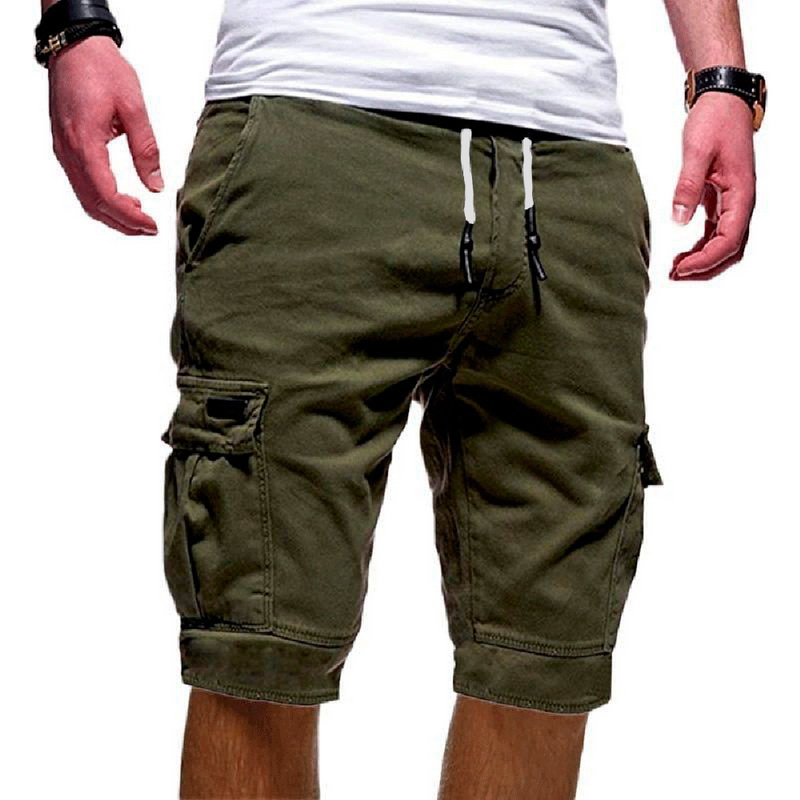 Shorts Cargo Streetwear Men's Men Summer Multi-Pocket Drawstring Solid-Color Casual