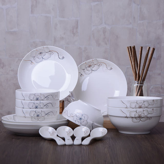 18pcs cutlery set chinese dinnerware sets ceramic tableware creative dishes plates bowl & Online Shop 18pcs cutlery set chinese dinnerware sets ceramic ...