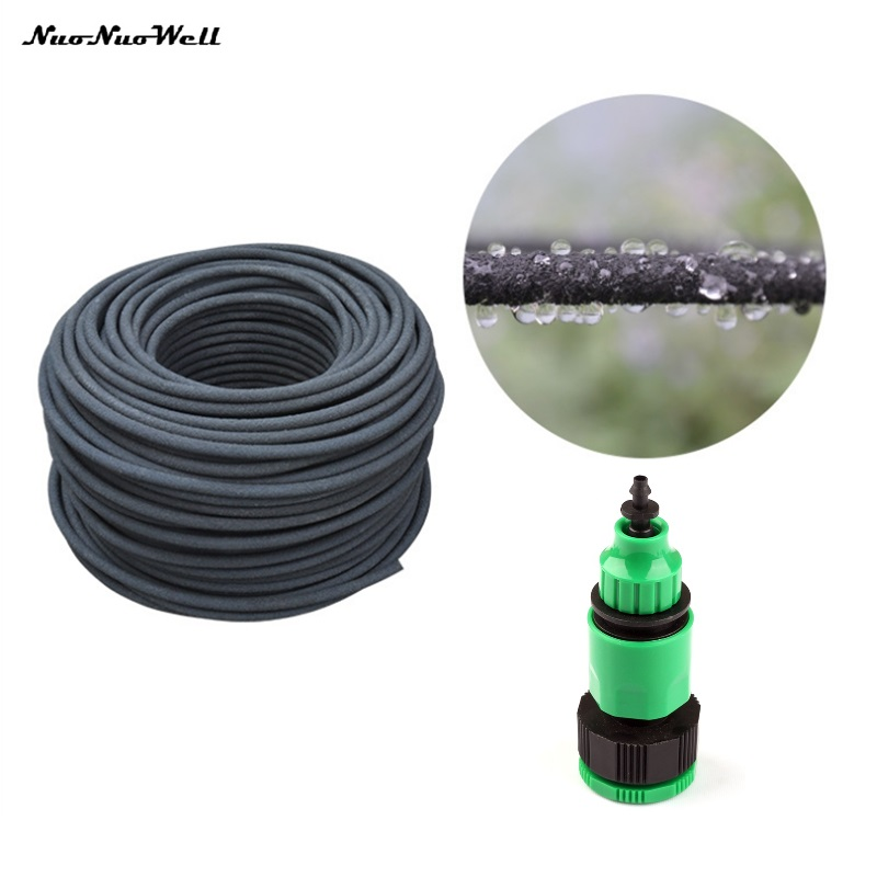 30m Durable Anti-aging 4/8mm Soaker Hose Agricultural Irrigation System Leaking Tube Permeable Pipe Fruit Trees Watering Drains