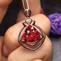 natural red garnet pendant S925 silver Natural gemstone Pendant Necklace trendy lovely Elegant triangle women girl gift jewelry