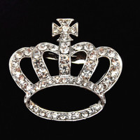 USA Fedex Shipping Cheap Wholesale Brooch!Silver Color Crystal Crown&Cross Brooch Elegant People Corsage
