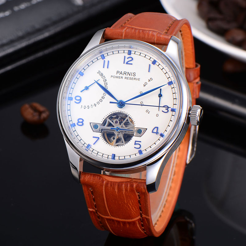 лучшая цена 43mm Parnis white dial calendar Power Reserve Automatic mechanical men watch Seagull movement Leather Strap