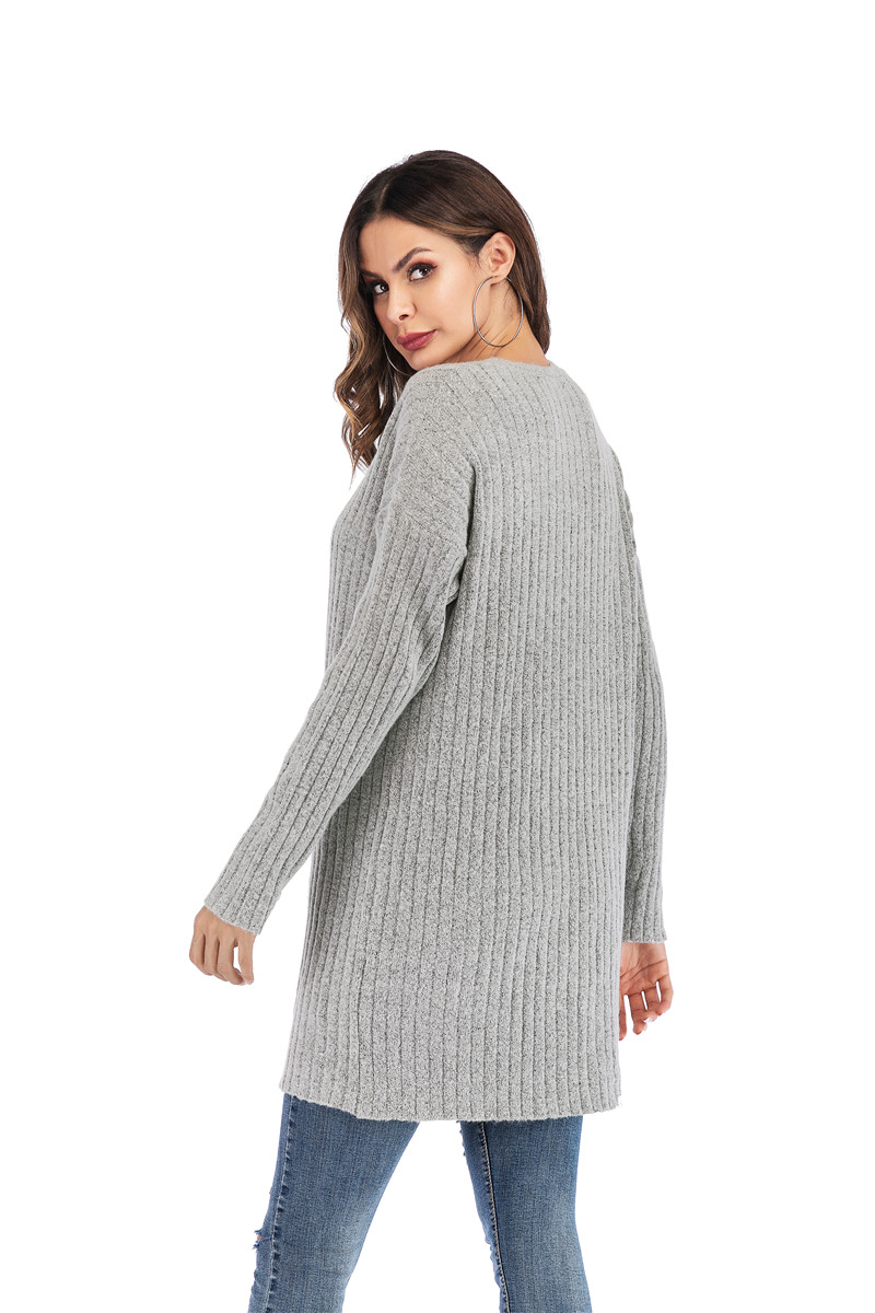 Fall Winter Cute Knitted Middle Long Ribbed Cardigan Dress for Women Kawaii Ladies Knit Drop Shoulder Sweater Coat Oversized S-L 29
