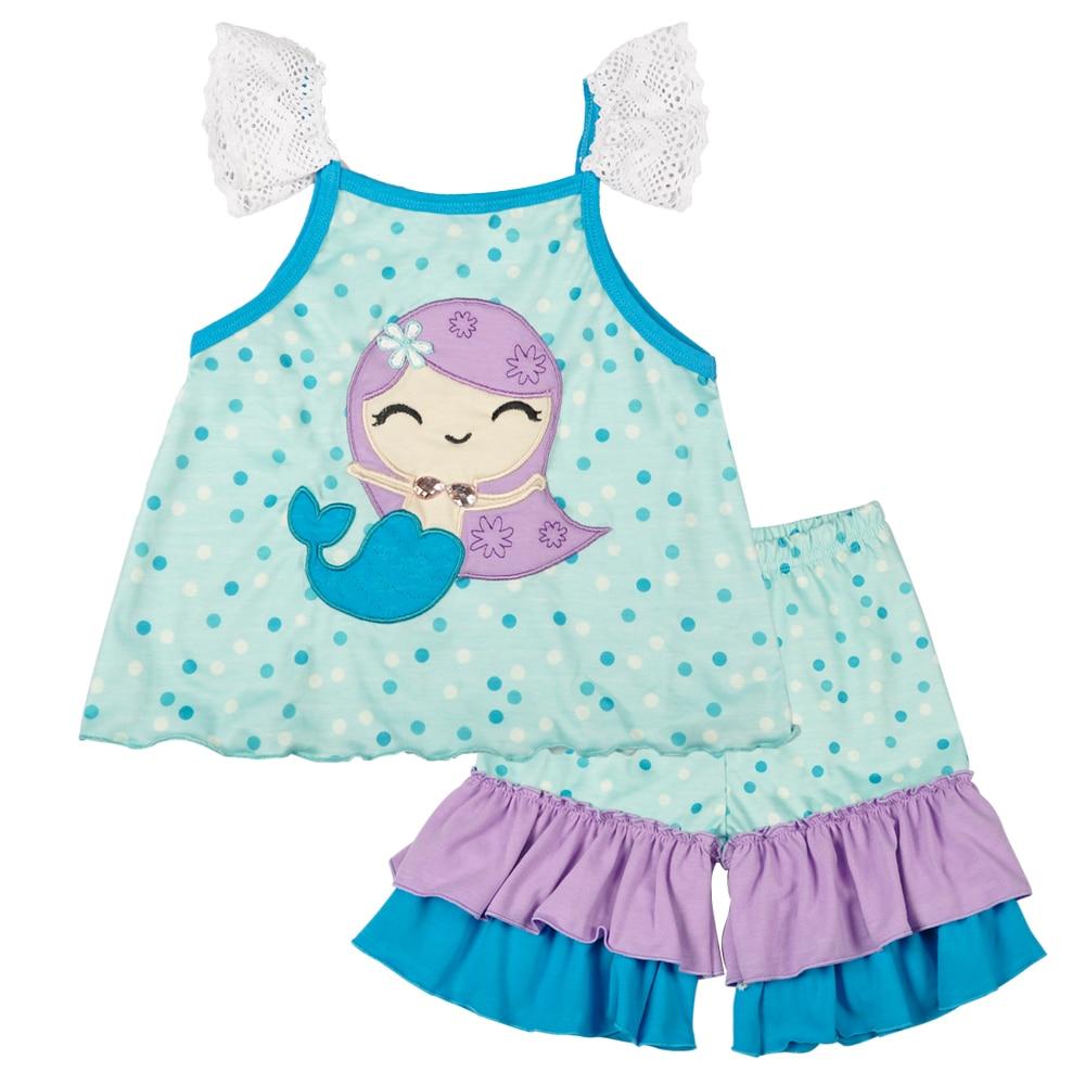 Hot Sale Kids Lovely Clothing Mermaid Embridery Pattern Decor Ruffle Capris Boutique Remake Summer Children Set 2GK712-042