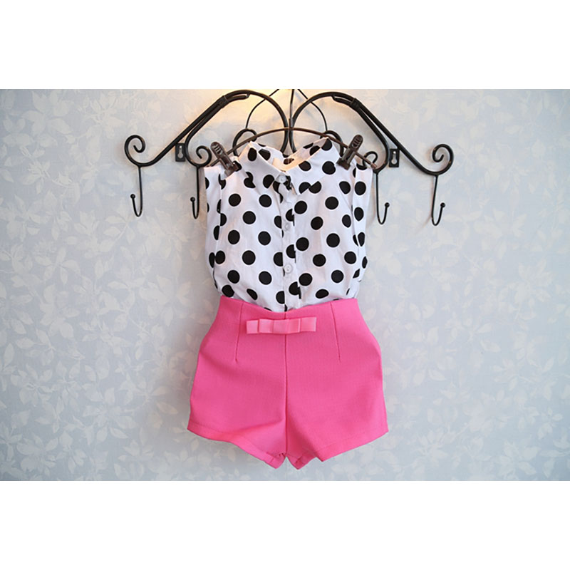 New Sale Girls costume clothing sets Dot shirt + Bowknot adornment shorts pants 2 pcs summer suits baby Girls 2~6 T