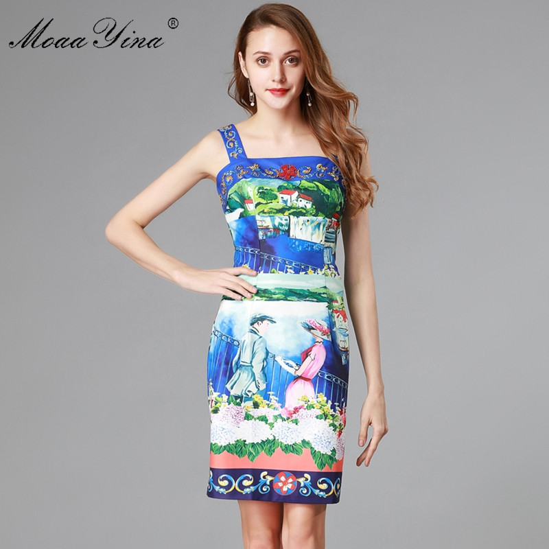 MoaaYina Fashion Designer Runway Dress Summer Women s Spaghetti strap Backless Beading Romantic love Floral Print