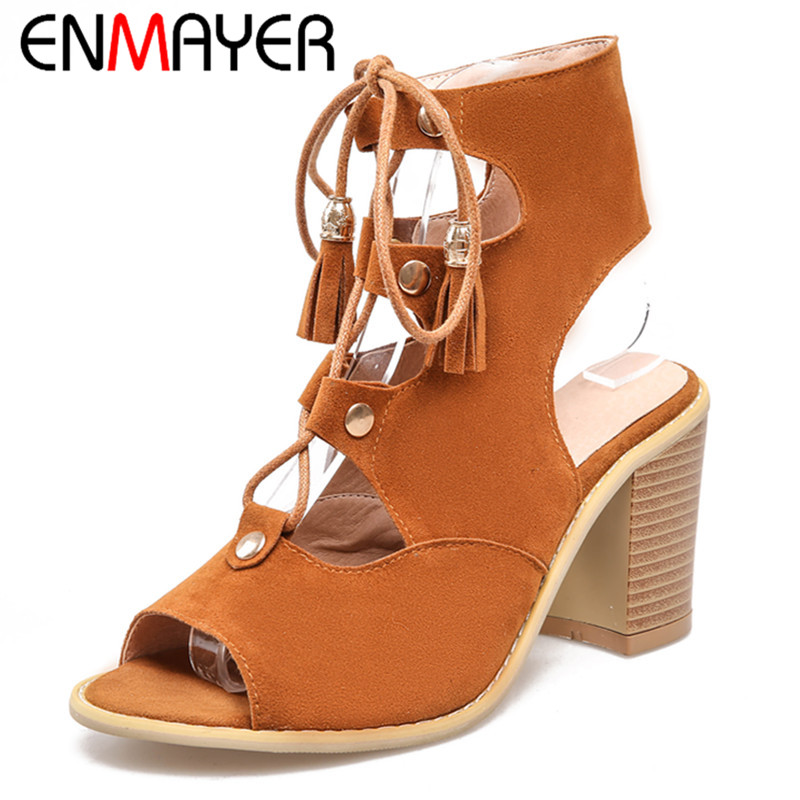 ФОТО ENMAYER High Heels Summer Sandals Pumps Plus Size 34-43 Red Fashion Sandals Square Heel Solid Rubber Shoes Lace-up New Style
