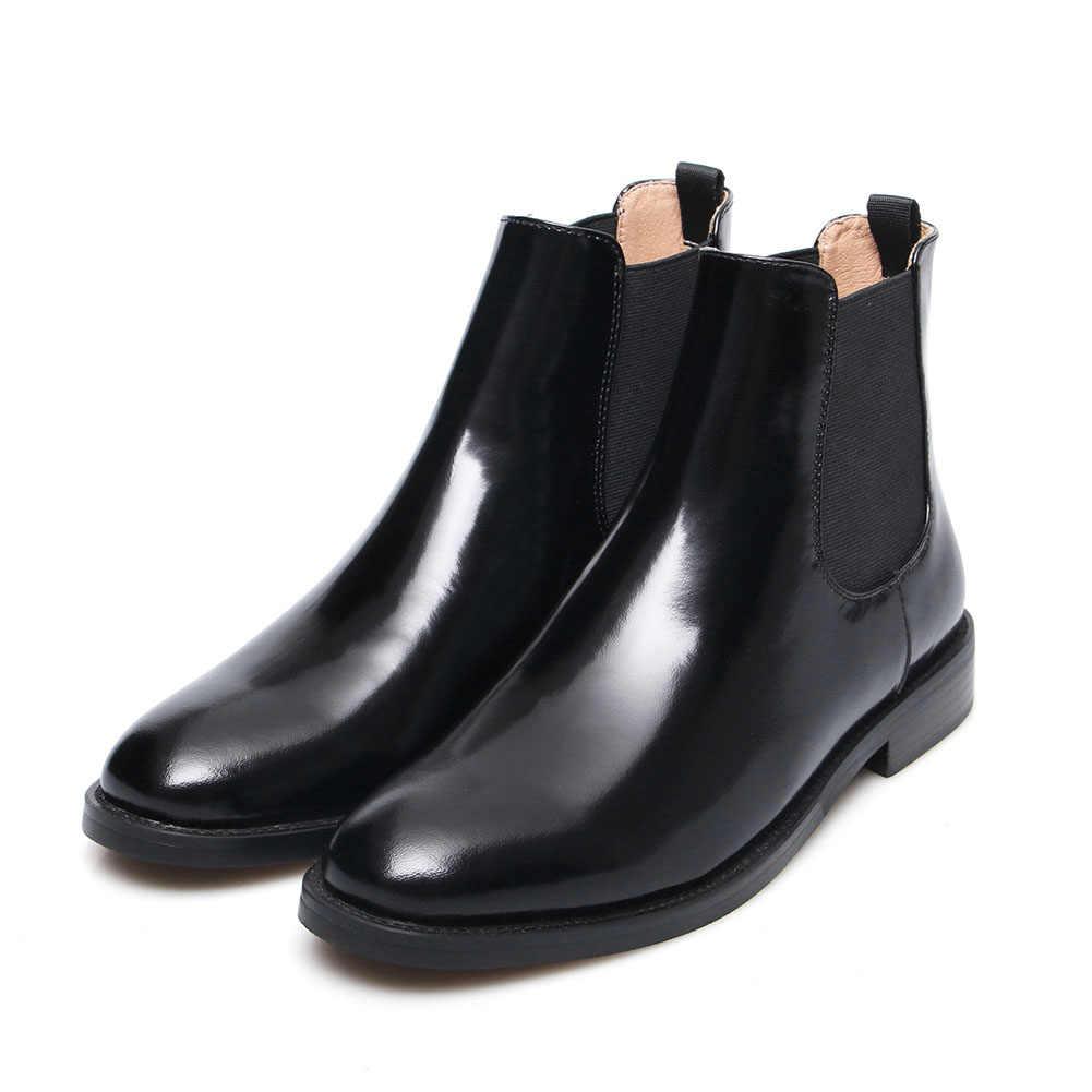 Doratasia 2019 Lüks Marka Büyük Boy 44 Hakiki Deri Ayak Bileği çizmeler kadın ayakkabıları Moda Chelsea Çizmeler kadın ayakkabısı Kadın
