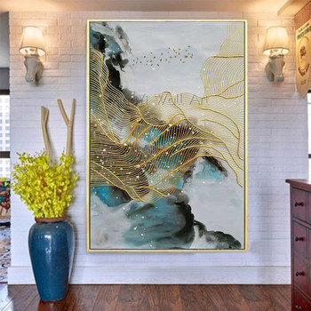 Gold line abstract canvas painting Wall art wall pictures for living room Home decoration painting abstract gold acrylic texture