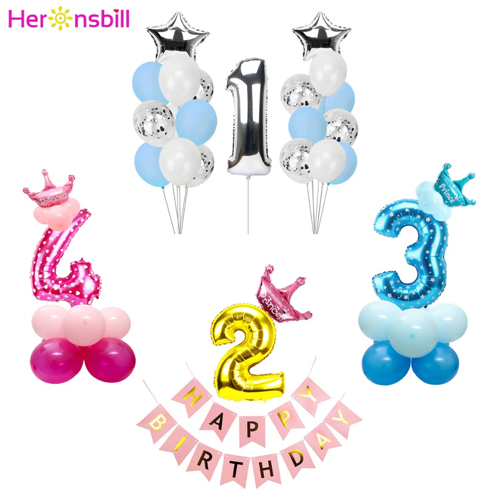 Heronsbill 1st 1 2 3 4 5 6 7 8 9 Years Happy Birthday Foil Number Balloons Baby Boy Girl Party Decorations Kids Supplies 2nd 3rd