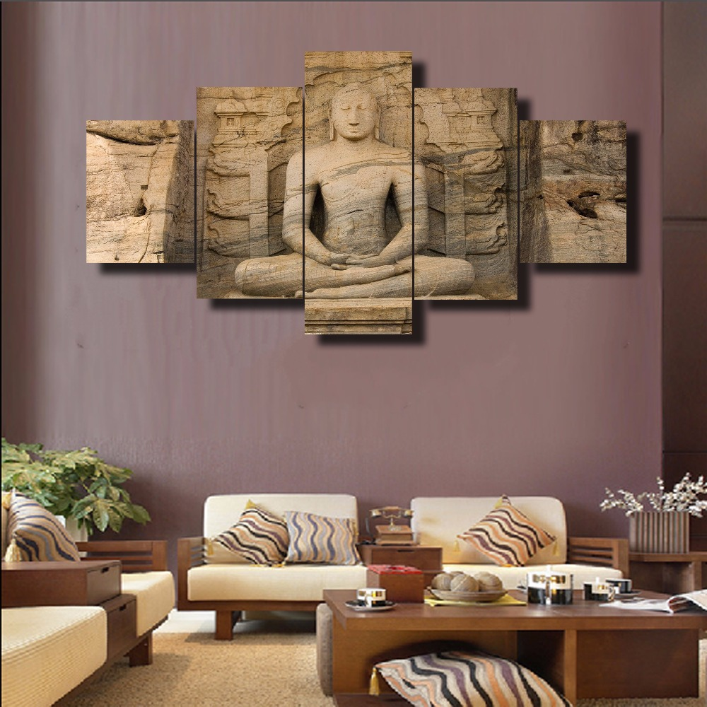Hd Printed 5 Piece Modern Home Decor Buddha Painting Canvas Wall Art Picture Home Decoration Living