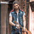 2016 Brand Spring Mens Sleeveless Jeans Jacket Slim Fit Hooded Zipper Camo Denim Vest With Detachable Hood For Men A816