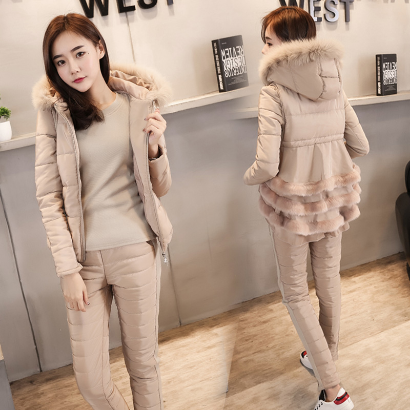 Tracksuits 2017 Winter Full Zipper Fur New Large Size Suit Feather Cotton Fashion Top + Trousers Thick Three Sets Of Women