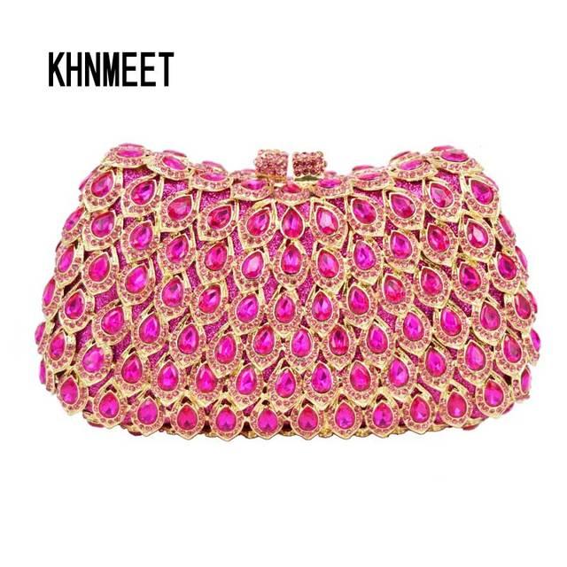 28f93f38eb96 Sparkly Fashion Fuschia Evening Bag Mujer Cocktail Party Purse Pink Wedding  Clutch Bag Ladies Pochette Clutches Handbags SC466