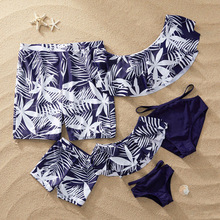 Family Look Matching Swimsuit Tropical Leaf Print Mother Daughter Men Boys Beach Shorts Swimwear QZ1178