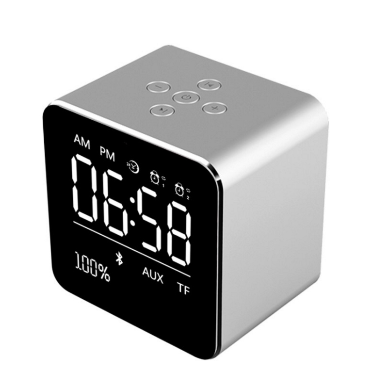V9 metal Bluetooth/wireless Speaker LED mirror Digital Alarm clock 3D portable Support Bluetooth,TF AUX