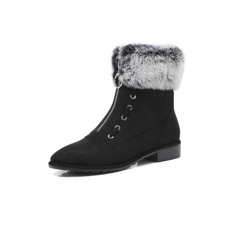 Black Facndinll Femmes Marque Tirette Chaussures gray Rond Bout Talons Cheville D'équitation Bottes Moto Noir Carrés Automne Gris Femme Hiver qgTqHr