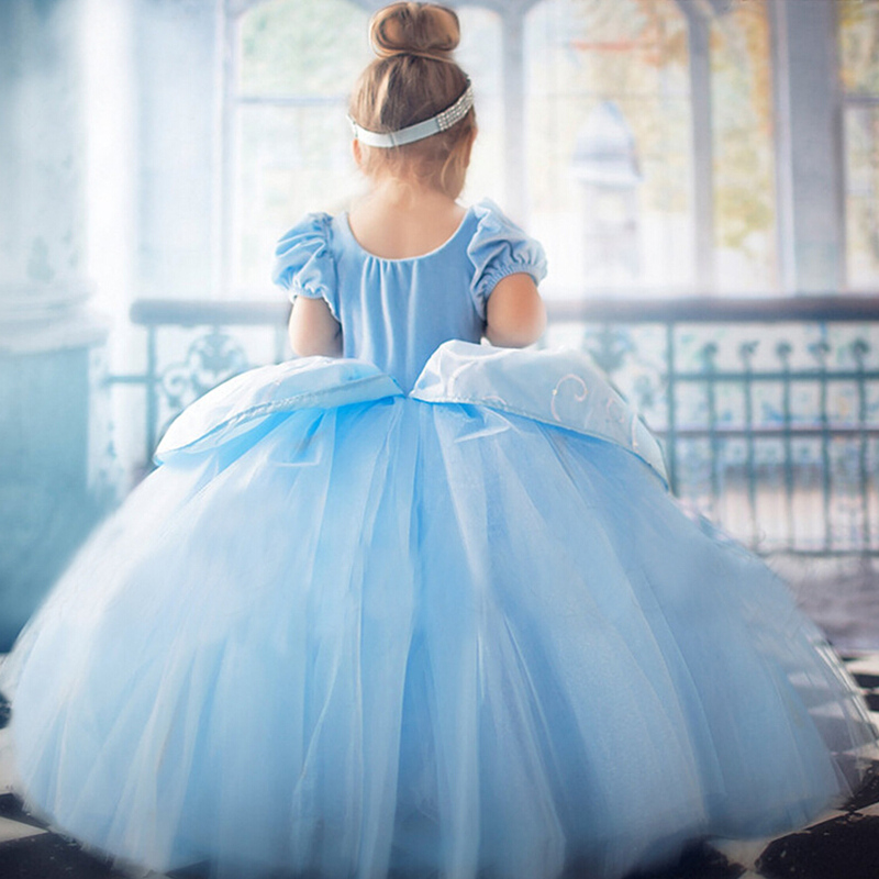4 7 8 9 10 Years Elsa Dress Children Role-Play Costume Princess Cinderella Girls Ball Gown Party Christmas Cosplay Vestido Blue girl