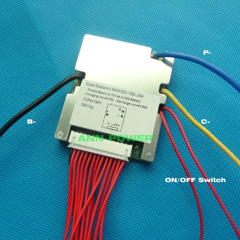 48 V v E-bike batería de litio BS MS 13 S 48 V 20A BMS voltaje de carga 54,6 V con función de equilibrio y interruptor de encendido/apagado BMS/PCM