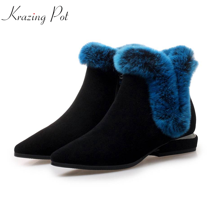 krazing pot 2018 cow suede women winter pointed toe thick low heels natural rabbit fur Korean elegant charming ankle boots L15 krazing pot cow suede fashion winter big size round toe art square high heels embroidery women flowers ankle chelsea boots l15