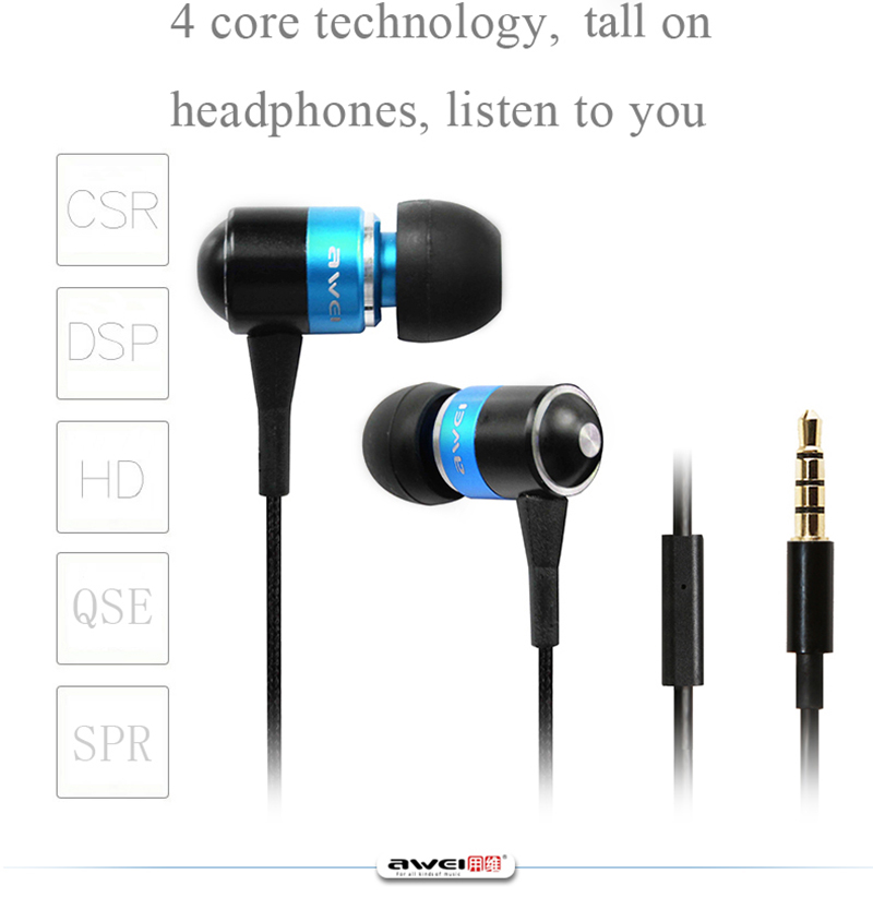 In-Ear Earphone Awei ES-Q3 Super Bass  Stereo Headphones Earbuds  Headset Fone de ouvido Auriculares Ecouteur Kulaklik Audifonos  factory price binmer 3 5mm super bass stereo in ear earphone fone de ouvido headset for tablet mp3 drop shipping wholesale