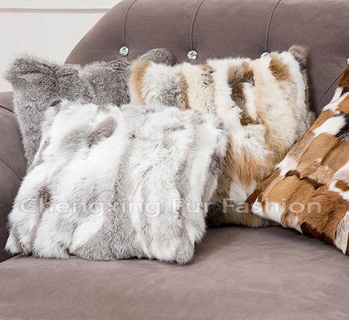 FREE SHIPPING CX D 40A Natural Rabbit Fur Cushion Cover Pillow Case Stunning Rabbit Fur Pillow Cover