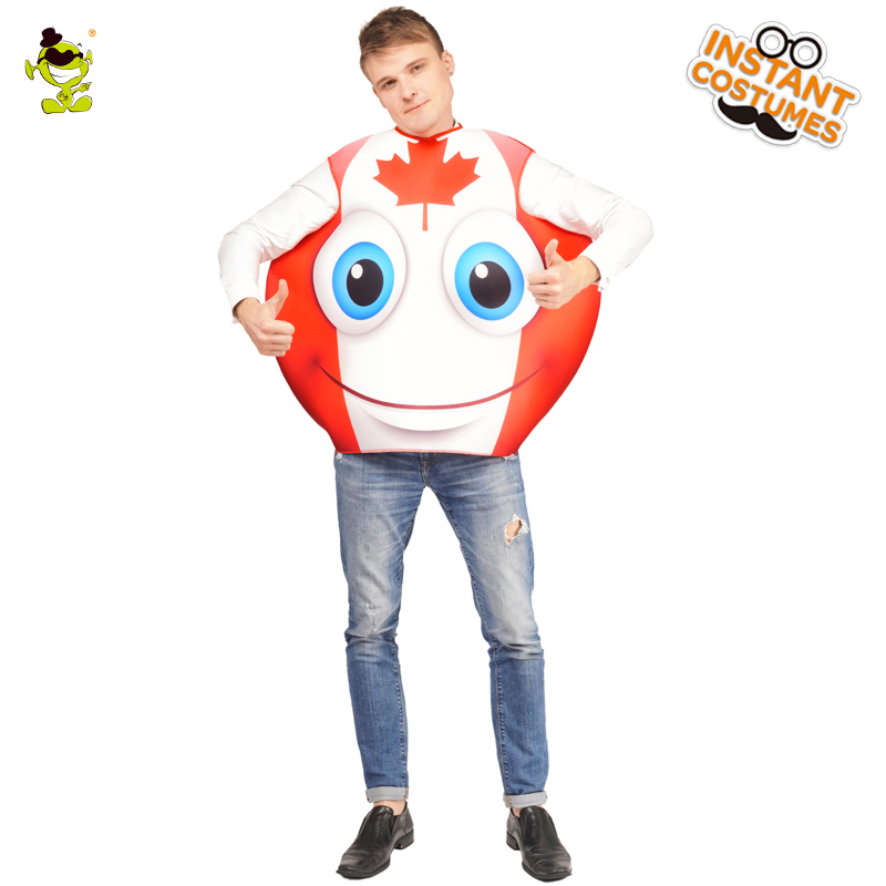 US $22 32 10% OFF|Carnival Party Emoji Canada Smiling Face Costume Cosplay  Unisex Adult Flag Emoticon Jumpsuit Outfits for Carnival Party on