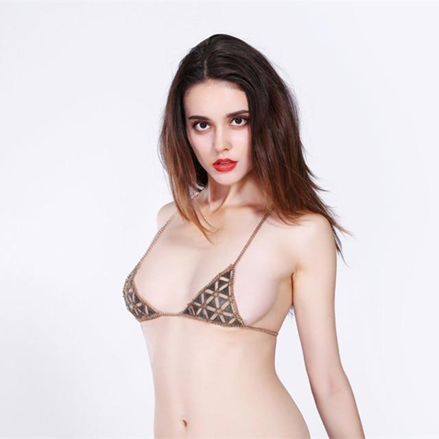 d5864cfd13 Sexy Harness Triangle Bra Body Jewelry For beach Gold Silver Bikini Chain  Necklace Wholesale 6L3009