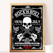 Skull Rock N Roll Party Vintage Poster And Prints Pop Wall Art Canvas Painting Pictures For Cabaret Ktv Karaoke Bar Decor