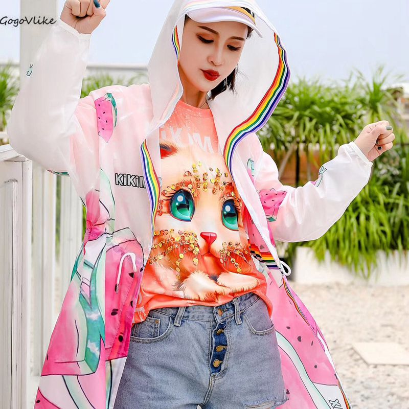 Summer Thin   trench   coat Hooded Sun-Proof 2019 Spring Women Chic Pocket Loose Coat Harajuku Windbreaker LT975S50