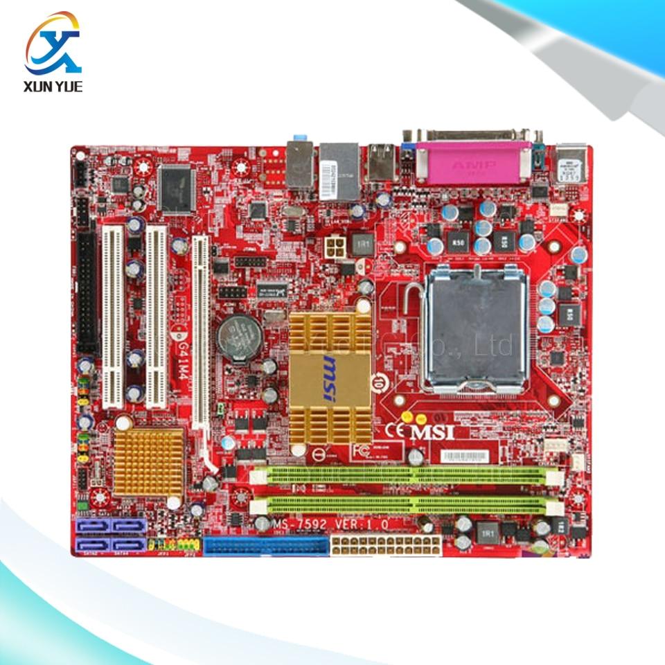 ФОТО MSI G41M4-L Original Used Desktop Motherboard G41 Socket LGA 775 DDR2 8G SATA2 USB2.0 Micro-ATX