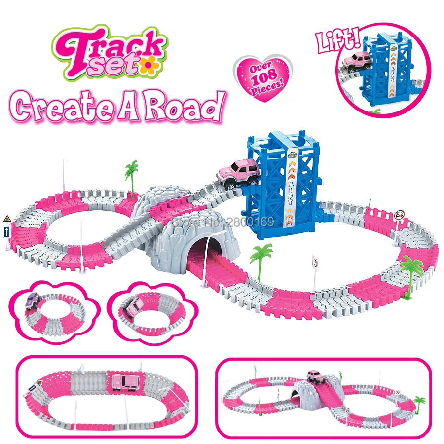 Princess Create A Road Journey Deluxe Bend Flexible Track Set With Tunnels, Elevator And Accessories Over 108 Pieces For Girls