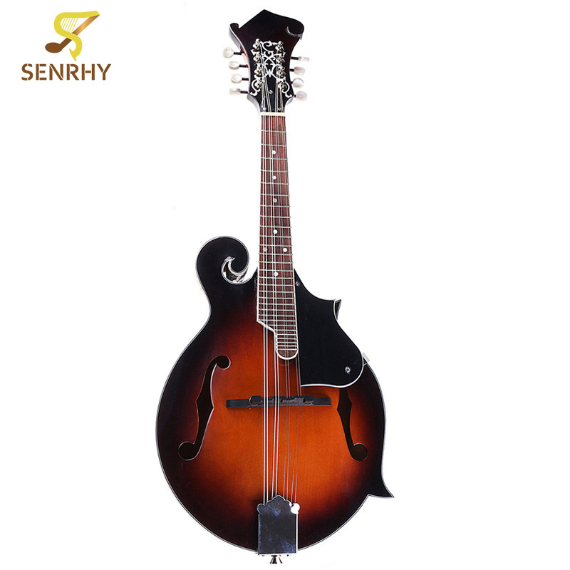 Senrhy 8 String Paulowni Mandolin Sunburst Musical Instrument with Rigid Mandolin Case For Stringed Instrument Lovers Gifts