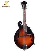 Senrhy 8 String Paulowni Mandolin Sunburst Musical Instrument with Rigid Mandolin Case For Stringed Instrument Lovers Gifts
