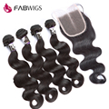 Fabwigs Peruvian Virgin Hair Body Wave with Closure Human Hair Weave 4 Bundles with Closure Peruvian Body Wave with Closures