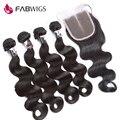 Fabwigs peruano onda do corpo do cabelo virgem com fecho de cabelo humano tecer 4 pacotes com fecho de onda do corpo peruano com fechos