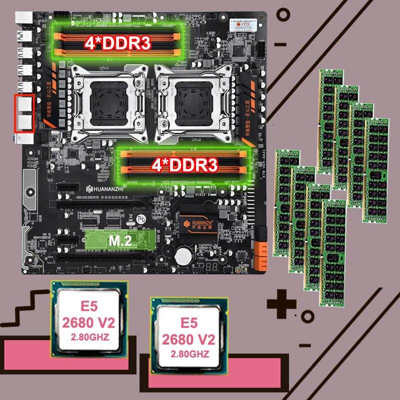 HUANANZHI double X79-8D carte mère avec M.2 slot discount marque carte mère bundle double CPU Xeon E5 2680 V2 RAM 128G (8*16G) 1866