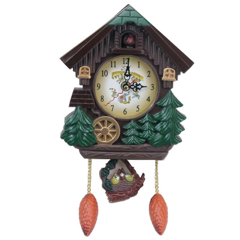 ABFP House Shape 8 Inches Wall Clock Cuckoo Clock Vintage Bird Bell Timer Living Room Pendulum Clock Craft Art Clock Home Deco