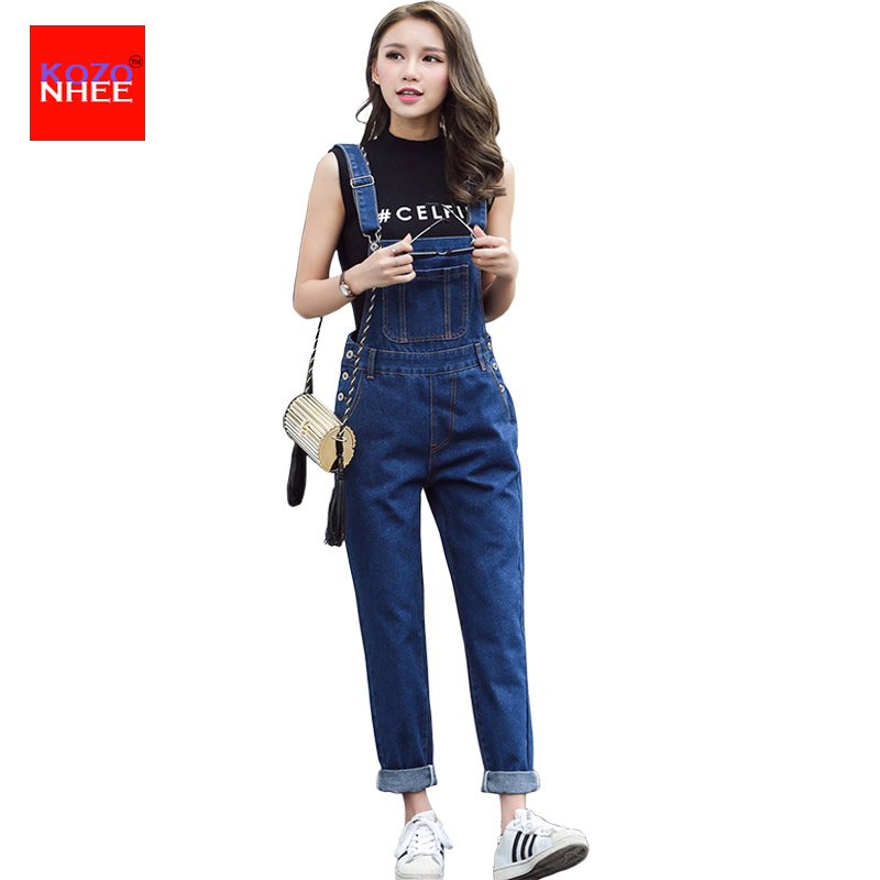 2017 Loose Denim Overalls Jumpsuits Pocket Rompers Jeans with high waist Plus Size Women Fashion Casual Denim Harlan Jumpsuits