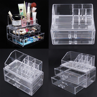 2016 New Portable Transparent Acrylic Cosmetic Organizer Drawer Makeup Case Storage Insert Holder Box