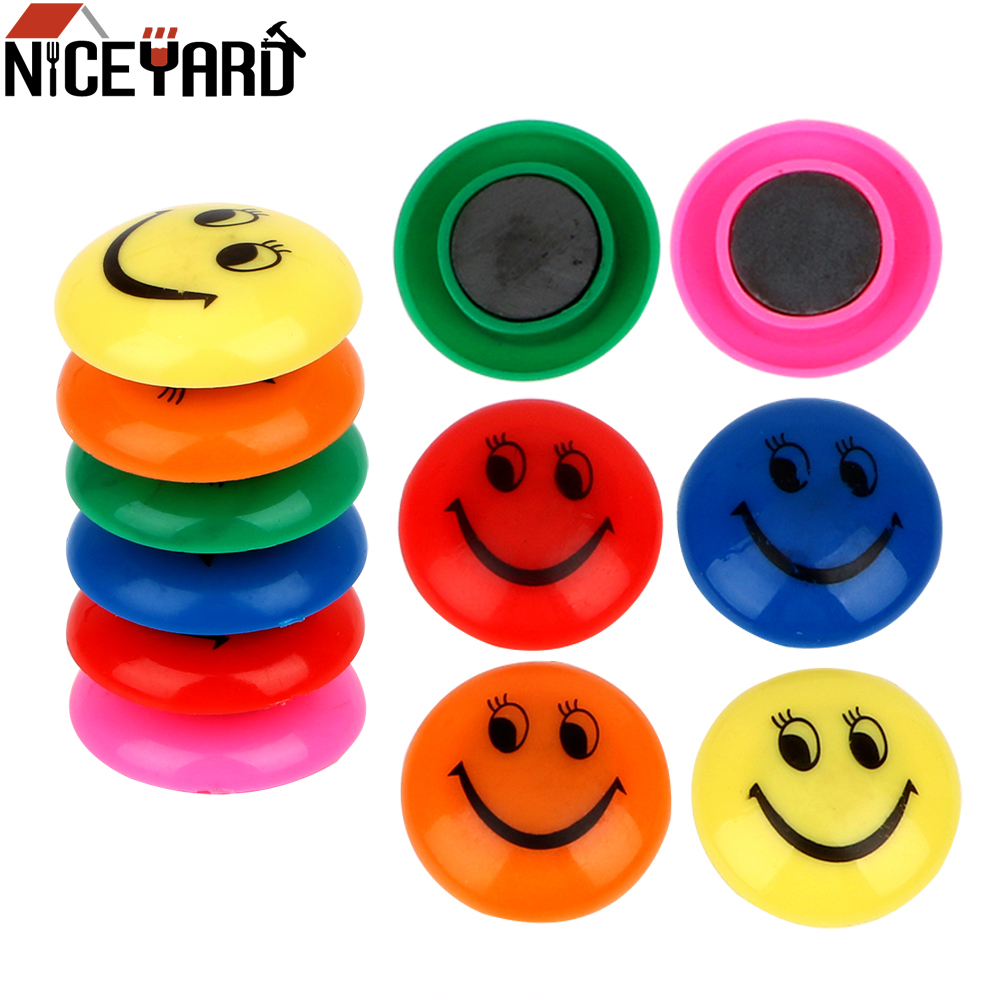 12pcs/lot Smiling Face Fridge Magnet Colorful Circular Plastic Message Board Sticker Refrigerator Magnets Home Decoration