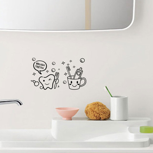 Toothbrush bathroom vinyl sticker removable custom made waterproof bedroom living room home decor pvc generation wall