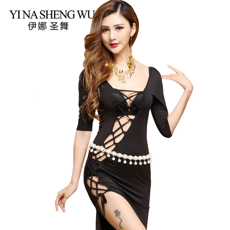 Adults Belly Dance Set New Side Slit Sexy Dress Belly Dance Practice Clothes Suit Milk Silk Sexy Strappy Half Sleeve Long Skirt