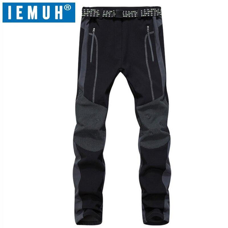 IEMUH Outdoor Softech Traverse pantalon hommes Softshell randonnée pantalon imperméable coupe-vent thermique pour randonnée Camping Ski pour l'hiver