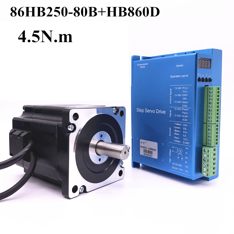 stepper motor driver cnc 86HB250-80B+HB860D Nema 86 Hybird closed loop 2-phase 4.5N.m 2 phase 8 5n m closed loop stepper servo motor driver kit 86j18118ec 1000 2hss86h cnc machine motor driver